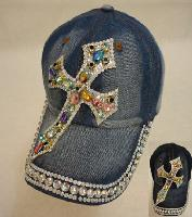Denim Hat with Bling [Cross] Colored Gems